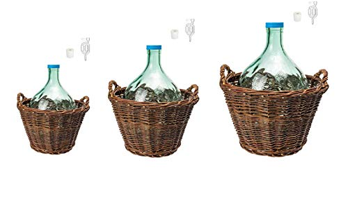 Beste Angebote Weinballon mit Weidenkorb +Gärröhrchen +Gummistopfen Glasballon Gäreimer Gärballon (Weinballon 15L)