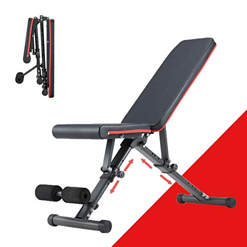 YOLENY Weight Bench Adjustable Strength Training Benches for Full Body WorkoutFolding Gym Bench with 15 Positions for Home Gym