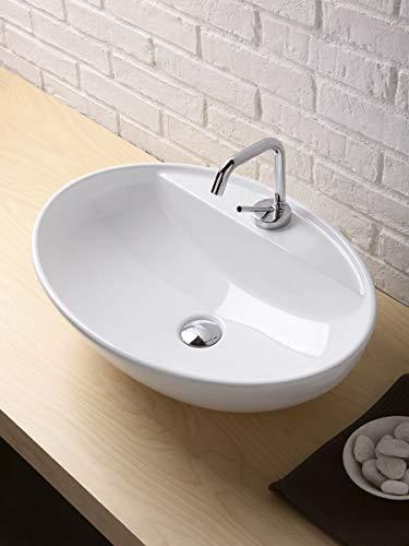 Softly Waschbecken Badezimmer oval mit Loch Wasserhahn 60_x_43_cm