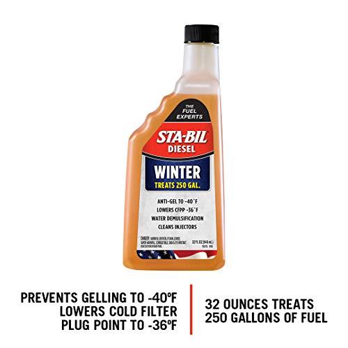 STA-BIL (15215 Diesel Winter Ant-Gel - Prevents Fuel Gelling Down to -40 Degrees Fahrenheit - Cleans Injectors - Treats 250 Gallons of Diesel Fuel, 32 fl. oz.