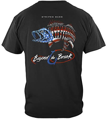 American Striped Bass Tshirt - Patriotic Shirts for Men -Black X-Large