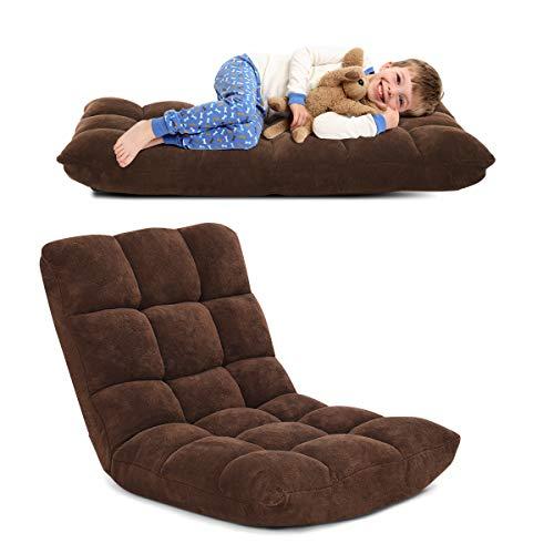 RELAX4LIFE Bodenstuhl Faltbar, Lazy Sofa, Meditationsstuhl, Bodensessel mit Verstellbarer Lehne, für Zuhause oder Büro, Farbewahl (kaffeebraun)