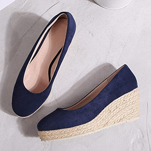 DZQQ 2021 Chaussures Simples compensées en Daim de la Princesse Kate pour Femmes Espadrilles à Bouche Peu Profonde Printemps et Automne Nouvelles Sandales à Talons Hauts