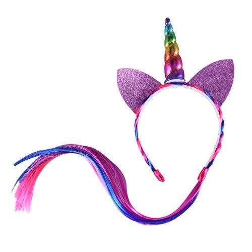 Amosfun Eenhoorn Hoofdband met Pruik Party Prinses Hoofd Hoop voor Kinderen Carnaval Dans Party 60 x 12 x3cm Kleurrijk
