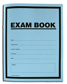 BookFactory Exam Blue Book/Blue Exam Book/Blue Test Book  Grid Format  8 1/2  x 11  - 16 Numbered Pages  25 Pack  Saddle Stitched  LAB-016-7GSS  Exam Book  25 Pack