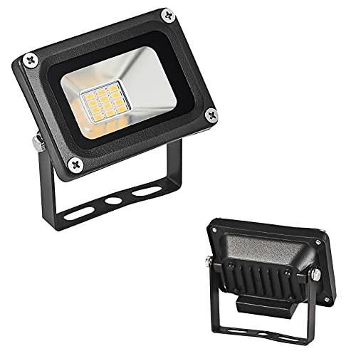 Foco LED de 12 V y 10 W, blanco cálido, 12 V, foco exterior, luz de seguridad IP65, resistente al agua 3000 K, ideal para iluminación exterior para jardín, garaje, hotel