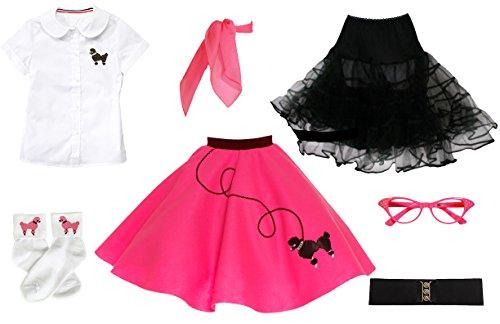 Hip Hop 50s Shop 7 Piece Child Poodle Skirt Outfit, Size 6 Hot Pink