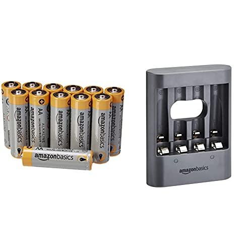 """AmazonBasics Caricabatterie USB, """"Overnight"""", nero & Pile Stilo Alcaline AA Performance, confezione da 12"""