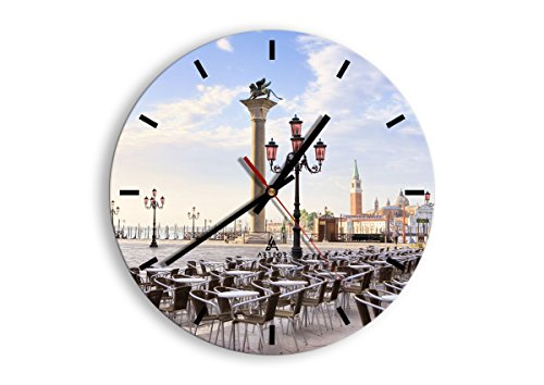 Horloge Murale - Ronde - Horloge en Verre - Pendule murales - 30x30cm - 2553 - Mécanisme d'écoulement - Silencieux - prete a Suspendre - Moderne - Décoration - Pret a accrocher - C3AR30x30-2553