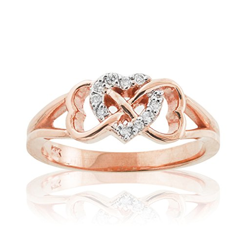 14K Rose Gold 1/15 Cttw Diamond Accented Triple Heart Infinity Celtic Knot Band Engagement Ring (J-K Color, I1-I2 Clarity) - Size 8