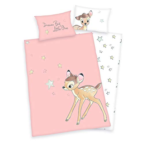 3 tlg. Baby/Kinder Bettwäsche Motiv: Bambi - renforcé 100x135 cm + 40x60 cm + 1 Spannbettlaken 70x140 cm - 100{29b7896d739a9cd352903052dedc84e5af2b90152057434c852ff15d5be65b38} Baumwolle (Bambi Sterne)