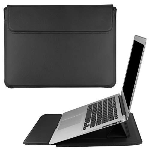 """HoYiXi 15.4"""" Housse de Protection pour Laptop Portable en Cuir PU Étui Case avec Support Laptop Sleeve Compatible avec 15.4'' MacBook Pro 15/MacBook Pro 16'' 2019 A2141/15'' Surface Laptop 3, Noir"""
