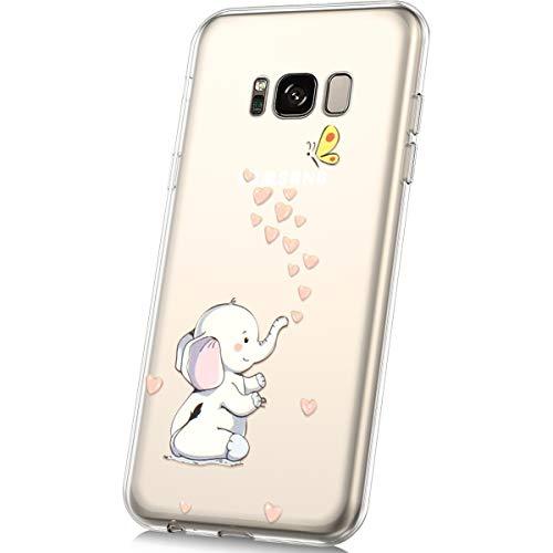 JAWSEU Funda Compatible con Samsung Galaxy S8 Transparente Suave TPU Silicona Gel Funda con Dibujos Animados Diseño Ultra-Delgado Anti-arañazos Resistente Protectora Carcasa,Elefante