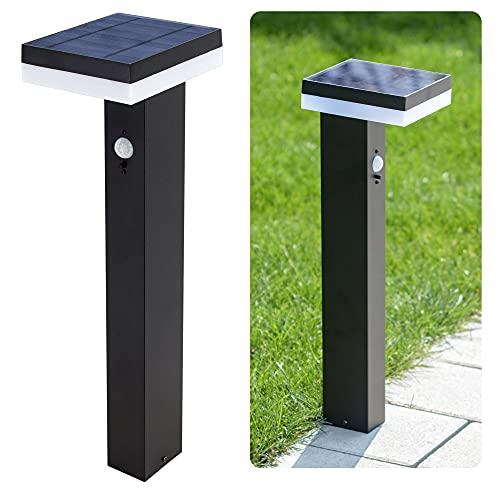linovum ANBO - Lámpara solar LED para exteriores con detector de movimiento y sensor crepuscular - Lámpara solar de jardín con larga luminosidad
