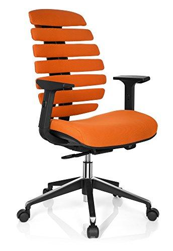 hjh OFFICE 714520 Profi Bürostuhl Ergo LINE II Stoff Orange Drehstuhl, ergonomische Rückenlehne, Lordosenstütze