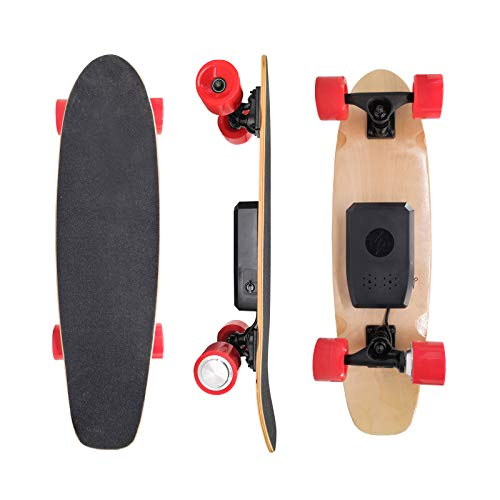 Electric Skateboard with Remote for Adults Teens Kids Beginners, Electric Board for Commuting Cruising, 4000 mAh Battery, 1 Hour Riding Time, 12.4 Mph Top Speed, 9 Miles Range, 7 Layers Maple Deck