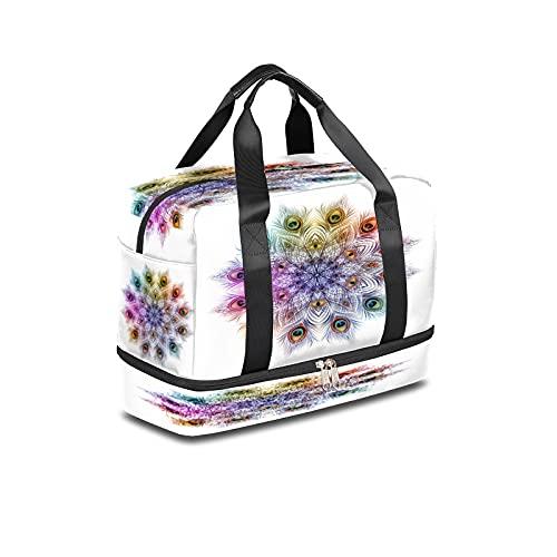 BOLOL - Borsone da viaggio con piume di pavone, borsa sportiva da palestra, motivo mandala floreale, borsa per la notte per uomini e donne