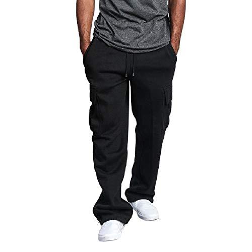 Herren-Sweatpants mit Kordelzug, elastische Taille, solide Tasche, lockere gerade Hose, Herren-Bewegungsfreiheit, Jogginghose Gr. 36-41, Schwarz