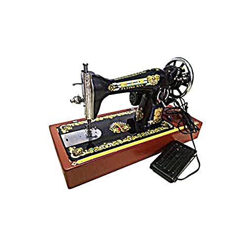 FFYUE Máquina De Coser Antigua, Máquina Eléctrica para El Hogar, Máquina De Coser Pequeña, Tabla De Mesa De Plataforma, Base De Madera Maciza/Caja De PVC/De Madera Maciza,Wooden Base
