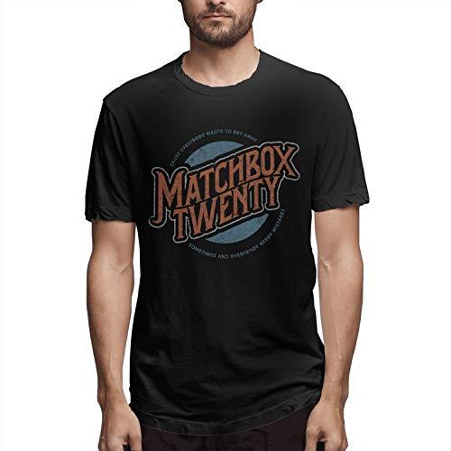 Mans Classic Breathable T Shirt Matchbox Twenty Logo Casual Round Neck Easy Tee Hip Hop T Shirts Black XL