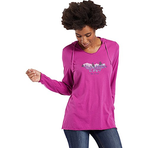 Life is Good Womens Hooded Smooth Tee Wildflower Watercolor, Sassy Magenta, Large