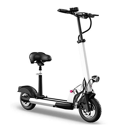 Eenvoudig met het opvouwen van de elektrische scooter, met zitting voor volwassenen, motor-E-scooter, 1000 W, met geleid licht en Hd-weergave te dragen. White-18/21ah