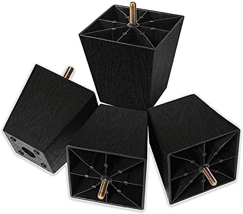 dh-4 1-6 Zoll hohe Sofabeine Quadratische Kunststoff Couchbeine Möbelbeine Riser Set von 4 mit M8 Aufhängerschrauben für Stuhl Loveseats
