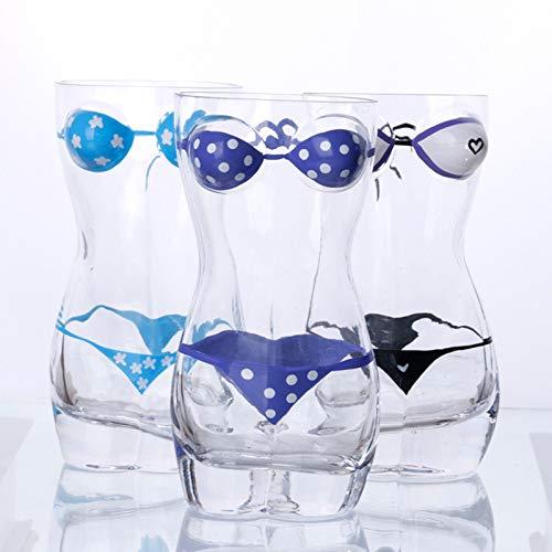 Tauzveok Lustiger Bierkrug, sexy nackte Frau weiblich/Männer Weinglas, für Getränke Glasbecher-Sets,60ml/2oz 3 pc