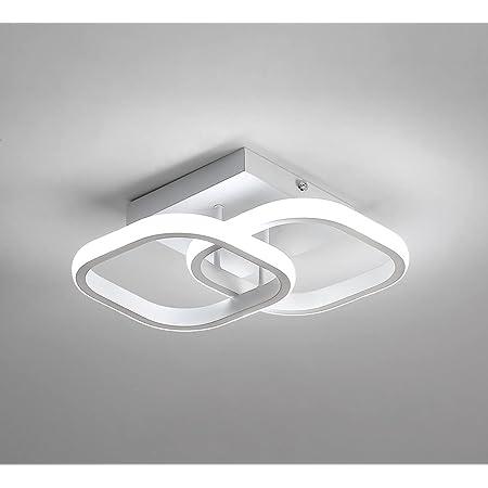 Plafonnier LED, Plafonnier Moderne 22W, Lustre Noir Acrylique carré Blanc 2 LED, Lampe de Plafond pour Salon, Couloir, Salle à Manger, Cuisine, Blanc Froid / 6000K