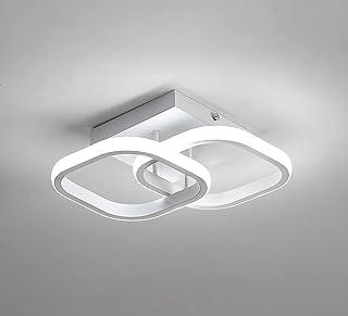 Plafonnier LED, Plafonnier Moderne 22W, Lustre Noir Acrylique carré Blanc 2 LED, Lampe de Plafond pour Salon, Couloir, Sal...