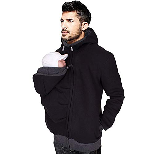 amropi Mens Kangaroo Jacket for Dad and Baby Carrier Hoodie Pullover Sweatshirt with Pouch Black,M
