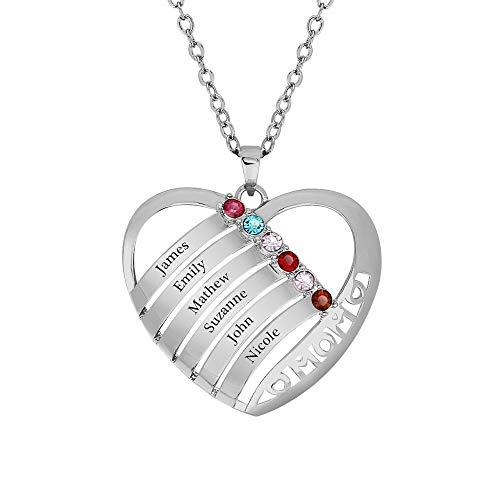 Personalisierte Familienmitgliedernkette - Halskette mit Steinen - Geburtssteinkette - mit Gravur 6 Namen (Silber,45cm)