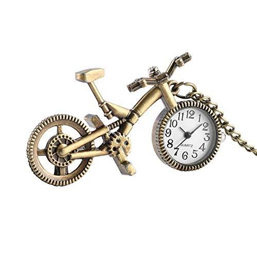 YXYOL Retro-Fahrrad-Shaped-Taschen-Uhr, Quartz Bronze Rad Halsketten-Anhänger-Taktgeber, Arbeiten Nostalgic-Taschen-Uhr-Geschenke für Männer Frauen Jugendliche Fahrrad-Liebhaber