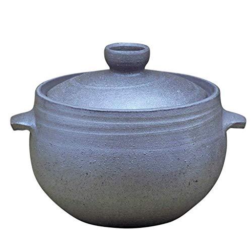 IUYJVR Cazuela de cerámica con Tapa Olla arrocera de cerámica con Tapa, Olla de arroz Donabe Japonesa, cazuela de cerámica, Olla de Barro Redonda, Olla Caliente, Olla para estofado no adherente, so