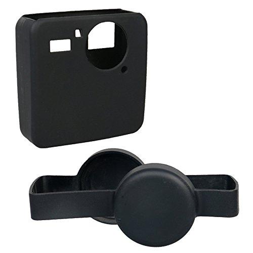Kingwon siliconen rubberen behuizing skins beschermer met camera Lens Cap Cover voor accessoires Gopro Fusion 360 graden camera, zwart