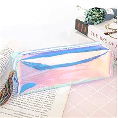 Estuche transparente con purpurina para lápices de papelería, bolsas creativas de la moda del PVC del lápiz de la escuela de la caja de lápices suministros de regalo del estudiante Kawaii, Azul, China