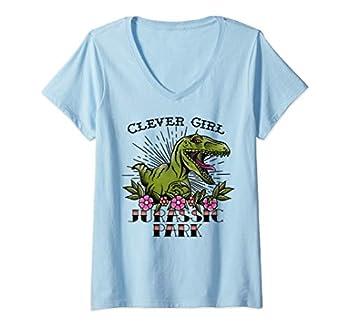 Womens Jurassic Park Velociraptor Clever Girl Tattoo Style V-Neck T-Shirt