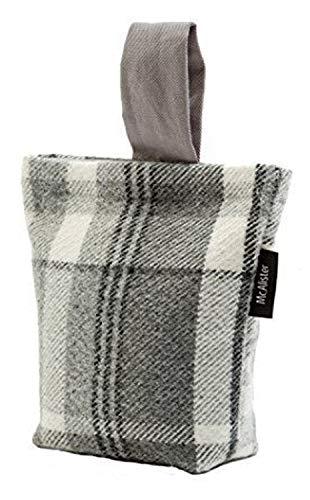 McAlister Textiles Heritage Butée Butoir de Porte en Laine Tweed | Designer Arrêt de Porte Motif à Tartan à Carreaux pour La Maison | Couleurs Gris Carbon