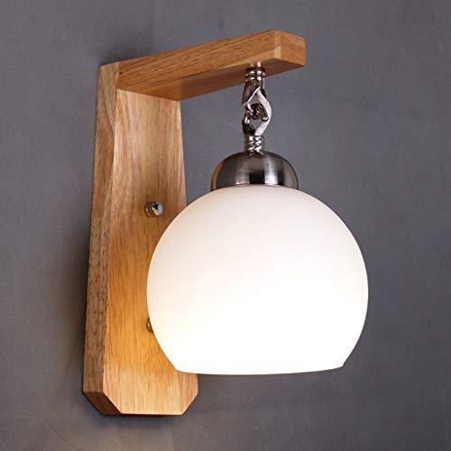Z-LIANG Pared antiguo creativo esférico madera de la pared de la lámpara, llevó la lámpara de cabecera del dormitorio moderno y minimalista Sala de estar luces del balcón Luces Escaleras lámpara de lu