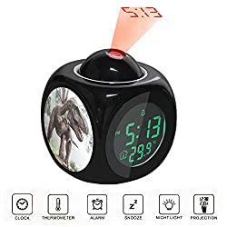 Projection Alarm Clock LCD Digital LED Display Talking with Voice Thermometer Function Desktop Brown Dinosaur Illustration