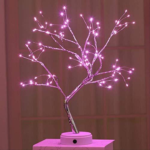 Tafellampen ZWRY 108 LED USB 3D Tafellamp Koperdraad Kerst Vuurboom Nachtlampje voor thuis Vakantie slaapkamer binnen Kinderbar Decor Fairy light 45 * 12 cm 108leds roze
