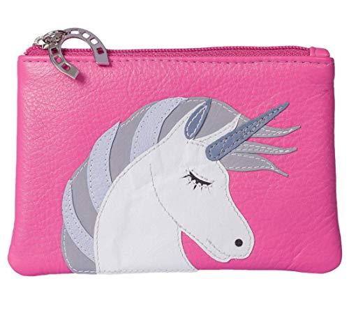 Monedero de unicornio morado Possum® para mujer y niña, de piel suave y genuina con protección RFID, color rosa