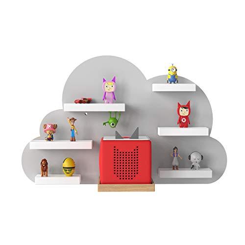 RR Rellgo Real Goods Tonie Box Holzregal mit magnetischer Beschichtung - Wandregal Kinderzimmer - im Wolken Design in grau