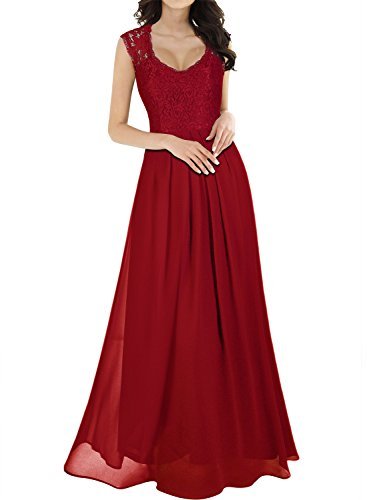 Miusol Women's Casual Deep- V Neck Sleeveless Vintage Maxi Dress (X-Large, Red)