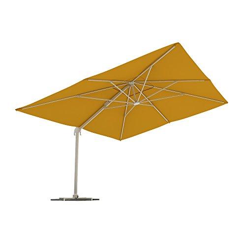 PARAMONDO Parapenda parasol à mât excentré| Parasol déporté pour jardin| 4x3m (rectangulaire/jaune) / compris l'armature et le pied forant(anthracite)