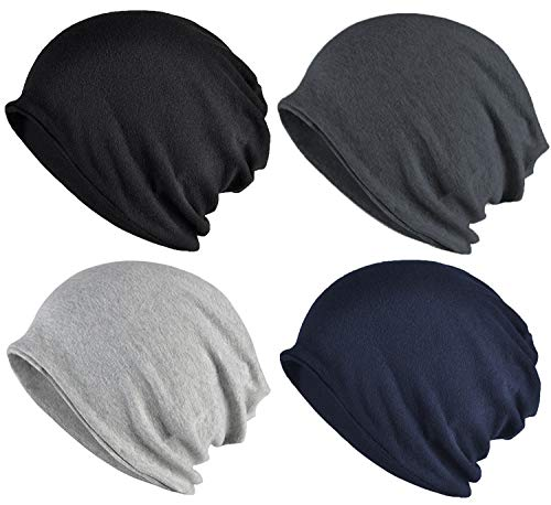 ELLEWIN Cotton Slouchy Beanie Hip-Hop Soft Lightweight Running Beanie Adult Dwarf Hats Chemo Cap for Men Women