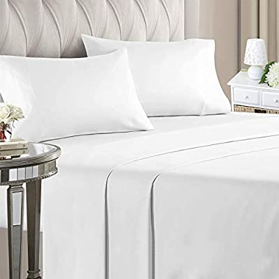 """ILAVANDE White Queen Sheets Set 4 Piece,Hotel Luxury Super Soft 1800 Series Microfiber Queen Bed Sheets Set-Wrinkle Free & Breathable-14"""" Deep Pocket Sheets for Queen Size Bed(Queen,White)"""