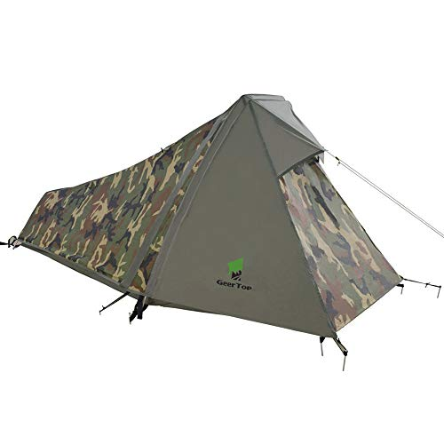 Geertop bivouac trekking tent mini pack, 213 x 101 x 91 cm H (1.5 kg), 1 person, 3 to 4 seasons for outdoor camping, hiking, travelling and climbing, camouflage