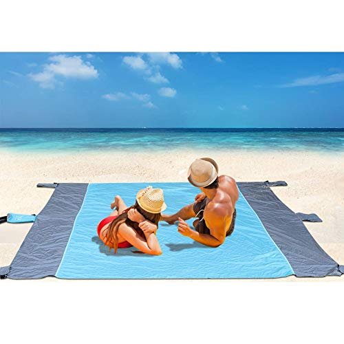 Coperta da Picnic Grande, Tappetino da Picnic Impermeabile Tappeto da Spiaggia All\'aperto con Sacche di Sabbia, Leggero Compatto Senza Sabbia per Viaggi, Campeggio, Vacanze, 210 X 270 cm, Blu-grigio