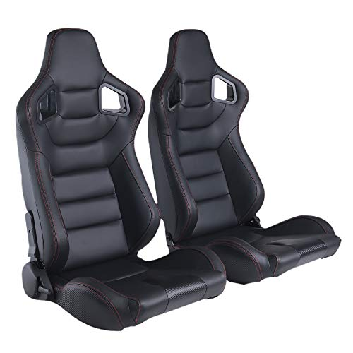 2PCS Universal PVC Leather Racing Seats, Reclinable Bucket Seat Come with Two Adjustable Slider, Mounting Brackets are NOT Include (Black & Red Stitching)